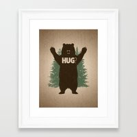 hug Framed Art Prints featuring Bear Hug by powerpig