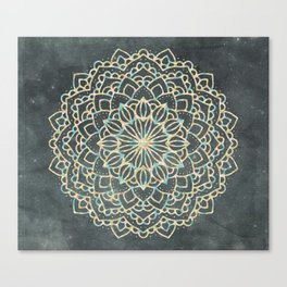Sea Shimmer Mandala - Gold + Turquoise Canvas Print
