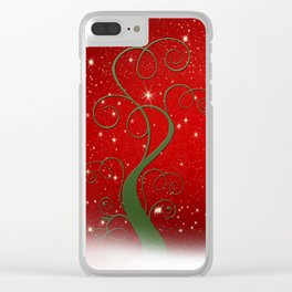 Christmas modern day snow star red Clear iPhone Case