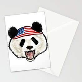 American Flag Panda 4th Of July Independence Day Stationery Cards