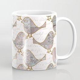 Vintage  Patchwork Birds Handwriting pastel pattern Coffee Mug