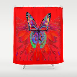 Infra-red Fantasy Butterfly Pattern Abstract Shower Curtain