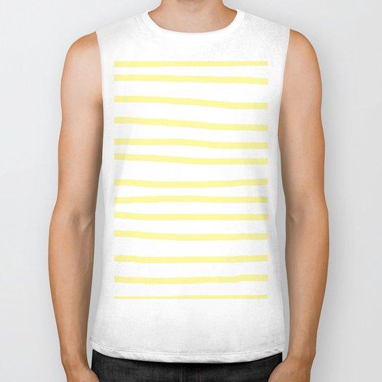 Simply Drawn Stripes in Pastel Yellow Biker Tank