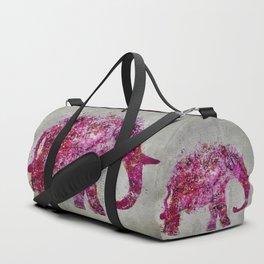 Elephant Art mixed media pink grey Duffle Bag