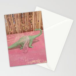 Dino Girl Green Stationery Cards