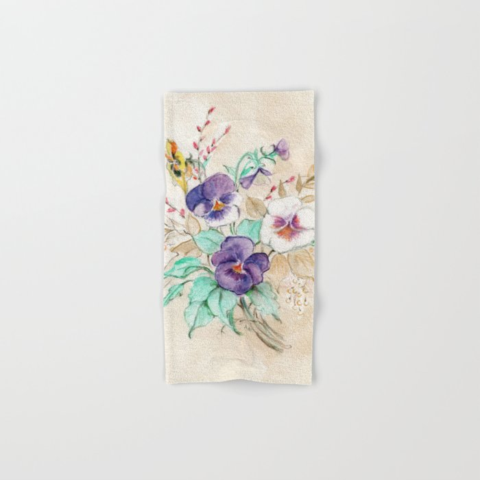 Pansies Bouquet Hand & Bath Towel