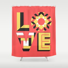 LOVE - Coral Shower Curtain