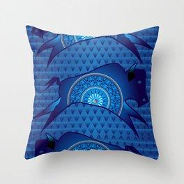 Buffalo Running (Blue) Throw Pillow