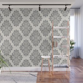 Floral Damask Pattern – Neutral Medium Gray and Light Beige Wall Mural