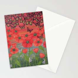 red sky, butterflies, poppies, & snails Stationery Cards