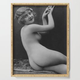 Victorian Vintage Posing Lady Erotic French Nude Outside Serving Tray