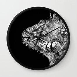 Black And White Iguana Art - One Cool Dude 2 - Sharon Cummings Wall Clock
