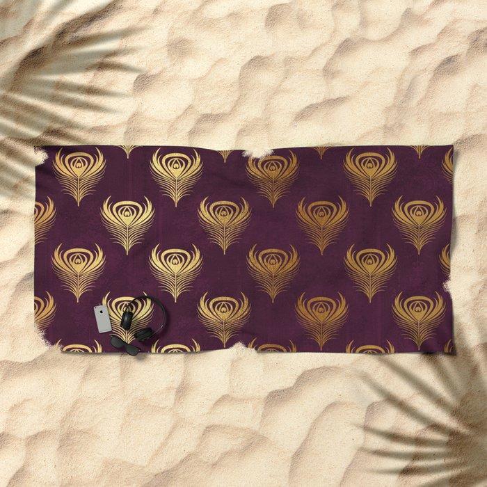 Purple gold peacock feather Beach Towel