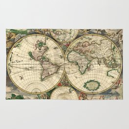 Old map of world hemispheres. Created by Frederick De Wit, published in Amsterdam, 1668 Rug