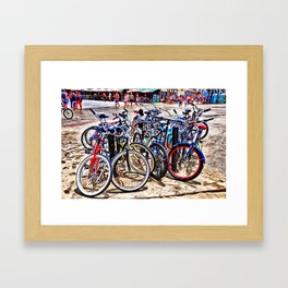 A gathering of bicycles Framed Art Print
