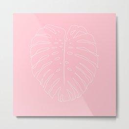 Monstera Leaf Finesse Line Art #2 #minimal #decor #art #society6 Metal Print