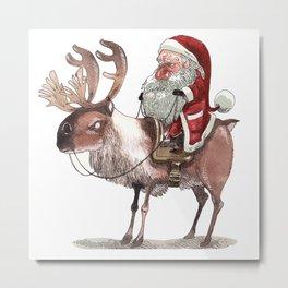 Père Noël Énervé / Angry Santa Metal Print