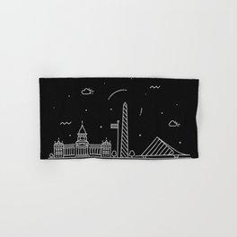 Buenos Aires Minimal Nightscape / Skyline Drawing Hand & Bath Towel