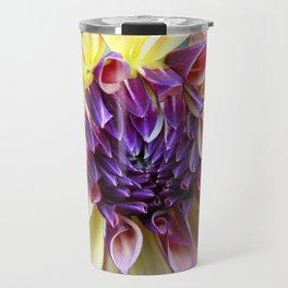 Purple and Yellow Dahlia Travel Mug