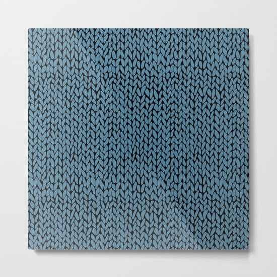 Hand Knit Niagra Blue Metal Print