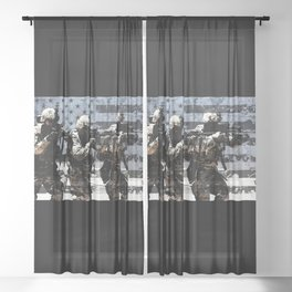 3 Soldiers & US Flag Sheer Curtain