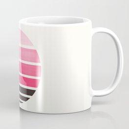 Pink Mid Century Modern Minimalist Circle Round Photo Staggered Sunset Geometric Stripe Design Coffee Mug