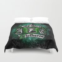 quidditch Duvet Covers featuring Slytherin team flag iPhone 4 4s 5 5c, ipod, ipad, pillow case, tshirt and mugs by Three Second