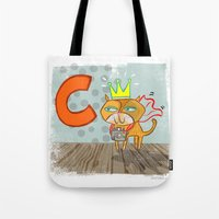 "randy c Tote Bags featuring ""C"" by Greta Songe Designs"