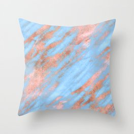 Sky Blue Marble With Rich Rose-Gold Veins Throw Pillow