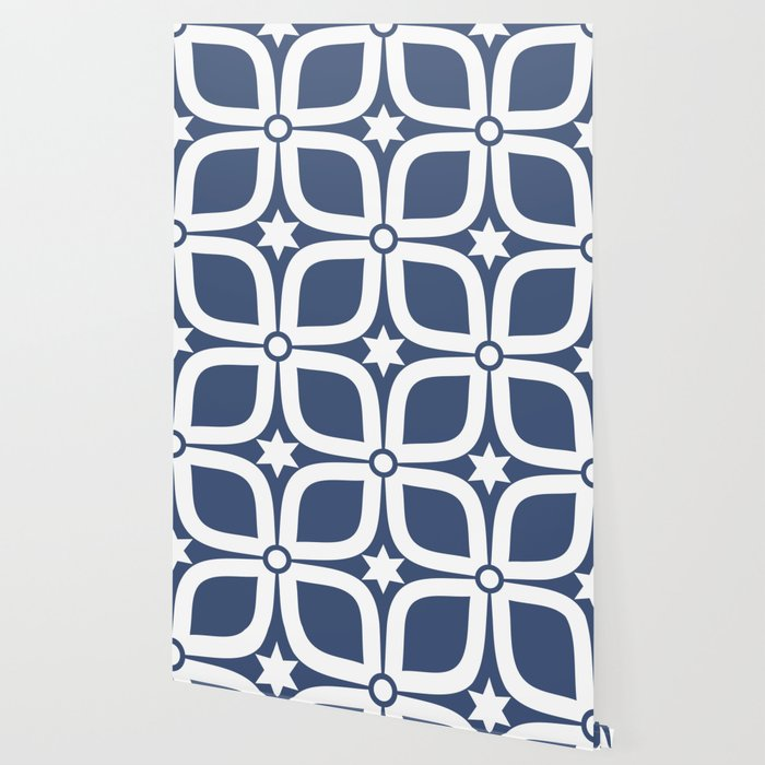Mid Century Modern 4 Leaf Clover Navy And White Wallpaper