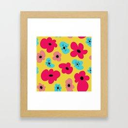 Funky poppies (golden background) Framed Art Print