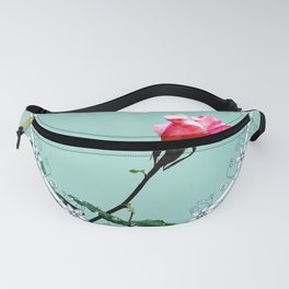 Heart with pink rose Fanny Pack