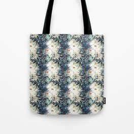 Happy Love Heart Family Pattern Blue Pastel Abstract Tote Bag