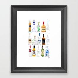 Tequila, Whiskey, Vodka Bottles Illustration Framed Art Print