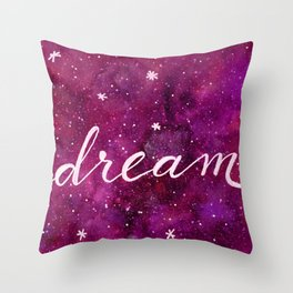 Watercolor galaxy dream - pink and purple Throw Pillow