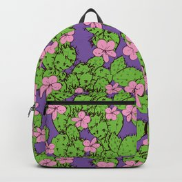 cactus with flowers sketch green lilac pink, black contour on purple background. simple ornament Backpack