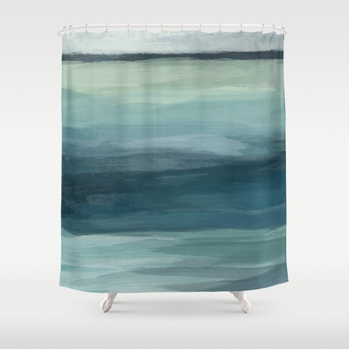 Seafoam Green Mint Navy Blue Abstract Ocean Art Painting Shower Curtain By Rachelelise