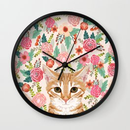 Orange Tabby floral cat head cute pet portrait gifts for orange tabby cat must haves Wall Clock