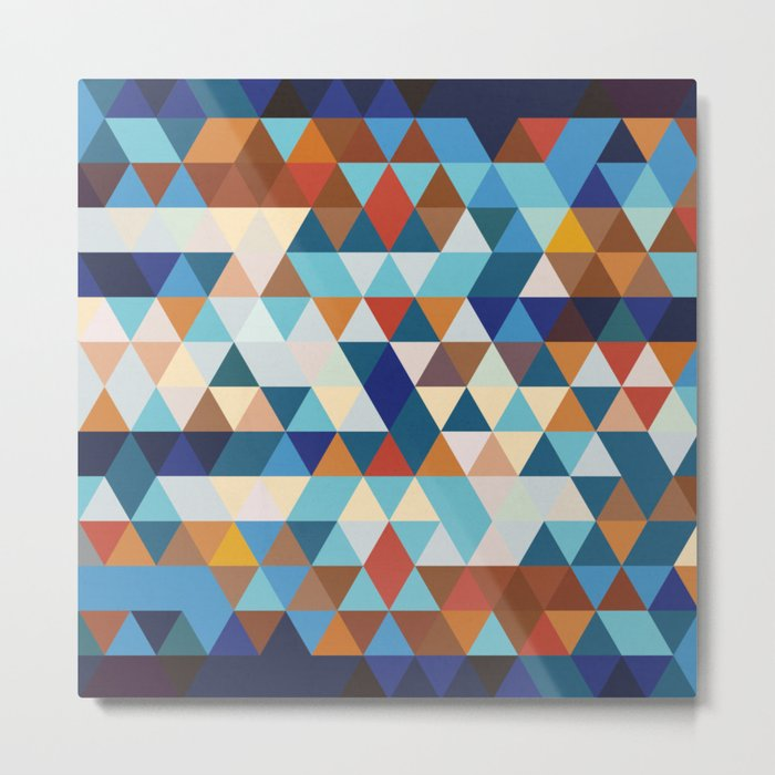 Geometric Triangle Blue, Brown  - Ethnic Inspired Pattern Metal Print