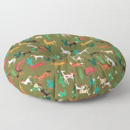 wild horses and flowers pattern Floor Pillow