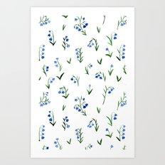 blue lily subtle pattern Art Print