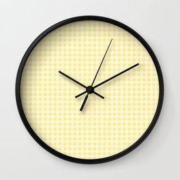Summery Lemon Yellow Gingham Wall Clock