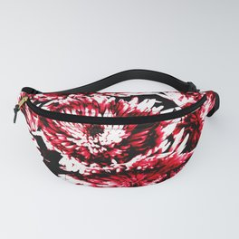 Red Black Abstract Flower Pattern  #Dahlias #Flowers Fanny Pack