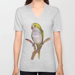 Quaker parrot in watercolor Unisex V-Neck