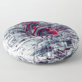 Gamer Heart BLUE CRIMSON / 3D render of mechanical heart Floor Pillow