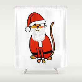 Cute cat dressed in a Santa suit, Santa hat and white beard Shower Curtain