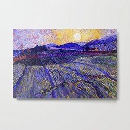 Lavender Fields with Rising Sun by Vincent van Gogh Metal Print