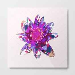 Abstract Painted Lotus Flower Metal Print