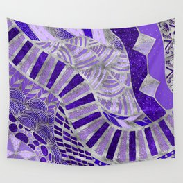 Ethic Tribal Ornament - Purples and silver Wall Tapestry