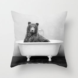 Bear in a Vintage Bathtub (bw) Throw Pillow
